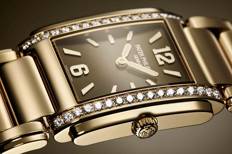 Patek Philippe Twenty-4 manchette style in rose gold with diamonds.