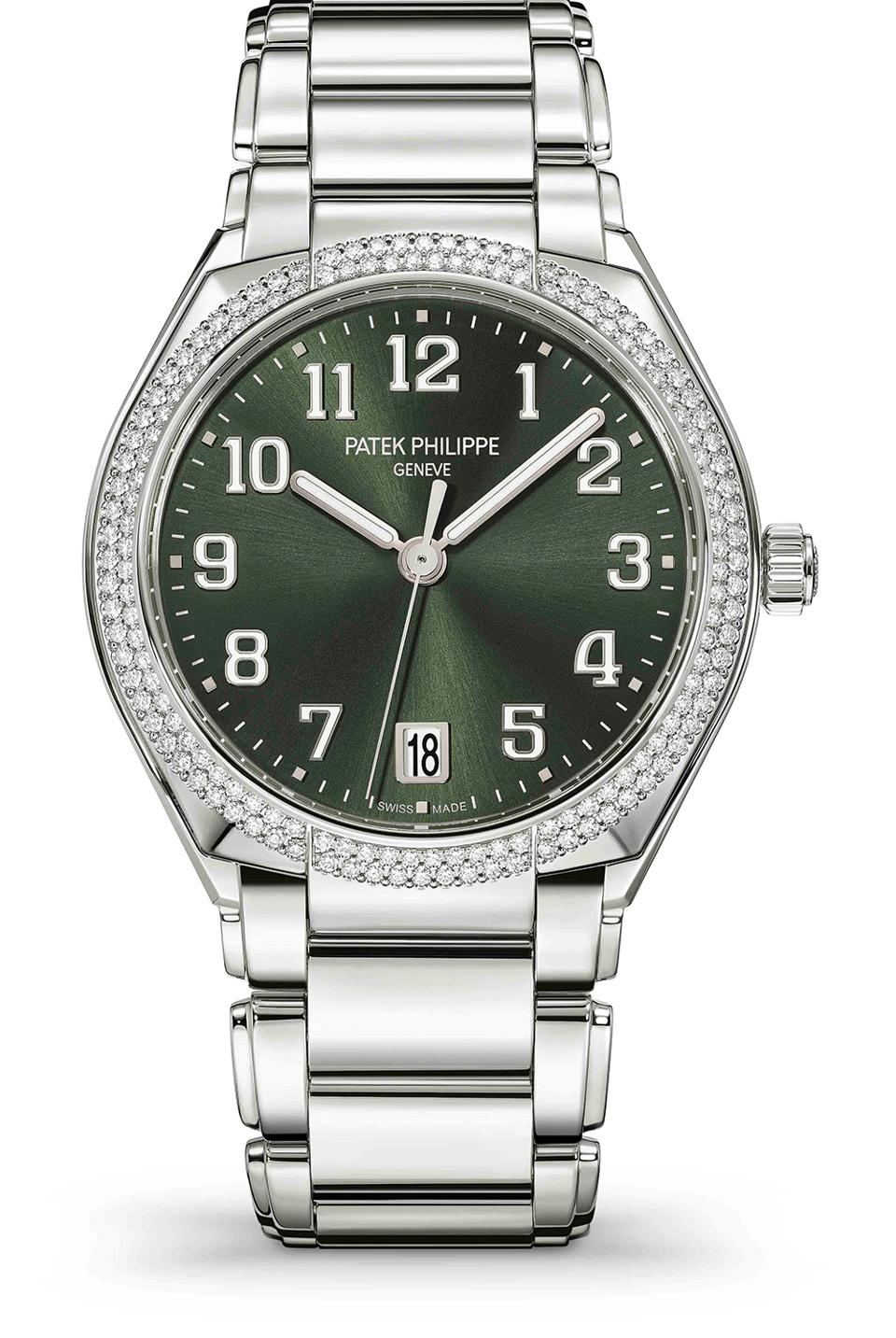 The Patek Philippe Twenty-4 Automatic in steel with olive green dial.