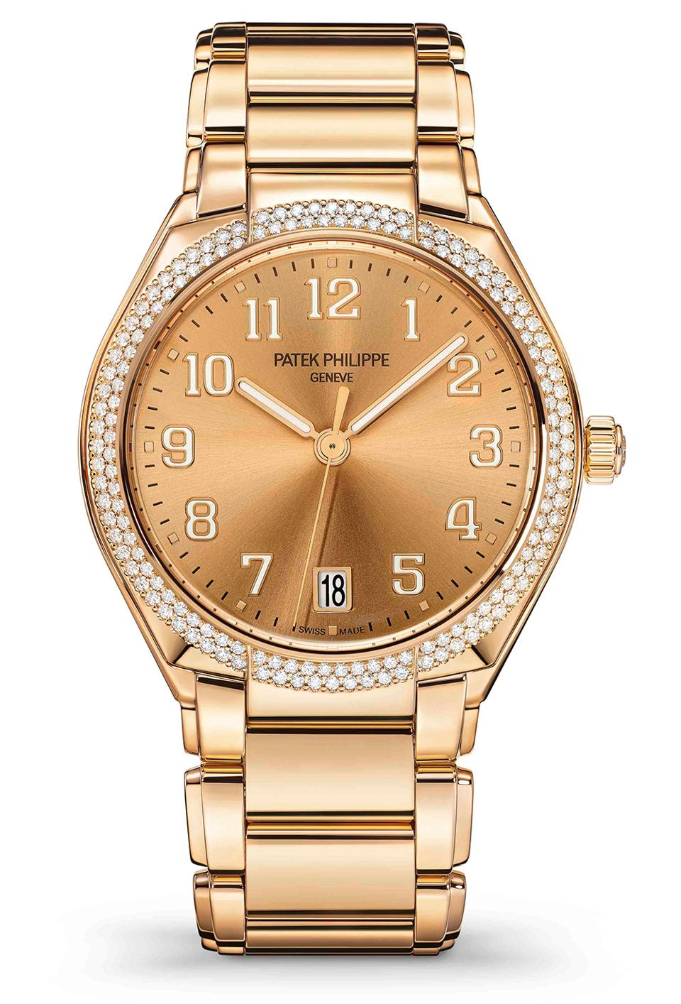 The Patek Philippe Twenty-4 Automatic in 18k rose gold with diamonds.