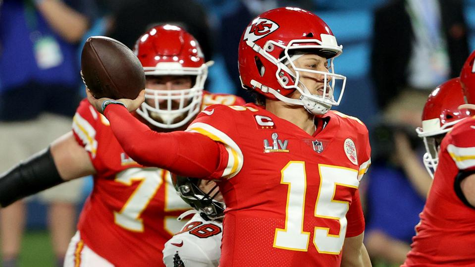 Patrick Mahomes during the Chiefs' 31-9 loss to the Buccaneers in Super Bowl LV.