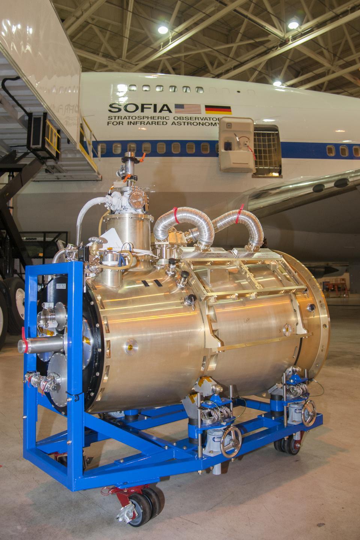 Das Stratospheric Infrared Astronomy Observatory (SOFIA) der NASA mit dem HAWC + -Instrument.