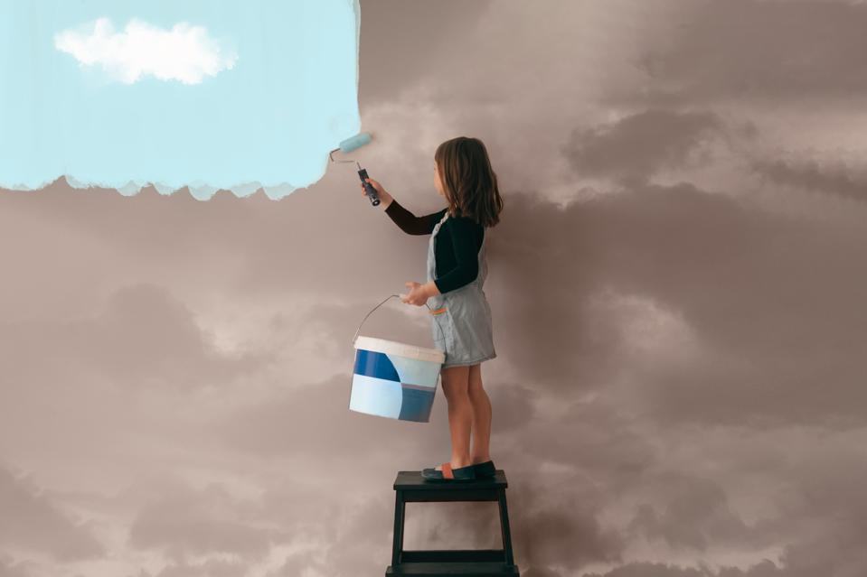 Girl Painting The Wall From Cloudy  To Clear Blue Sky - Positive Attitude And Mentality Concept