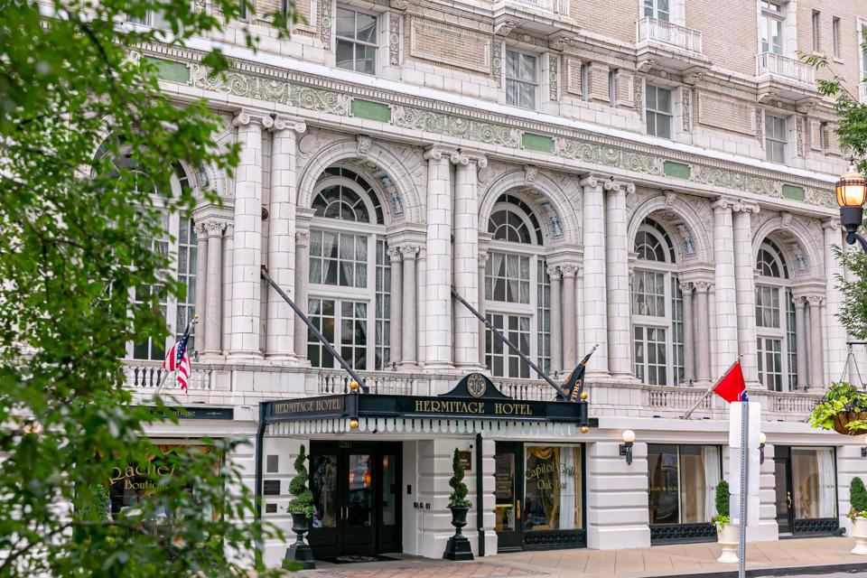The exterior of the Hermitage Hotel in Nashville.