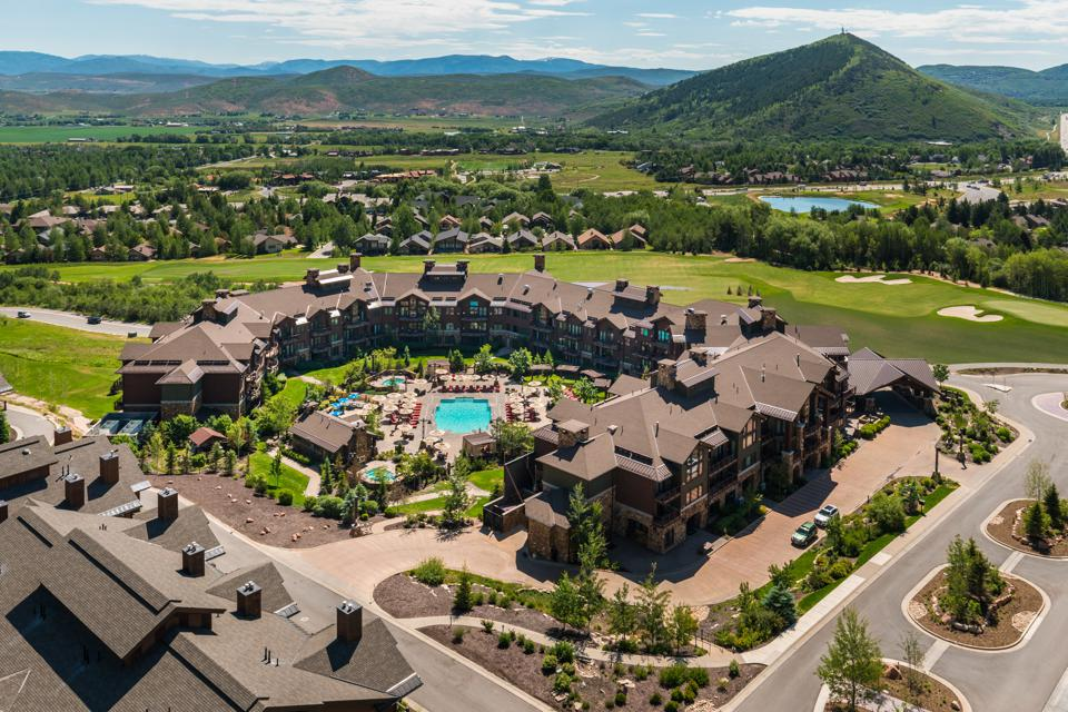 An overhead view of Waldorf Astoria Park City resort in Utah.