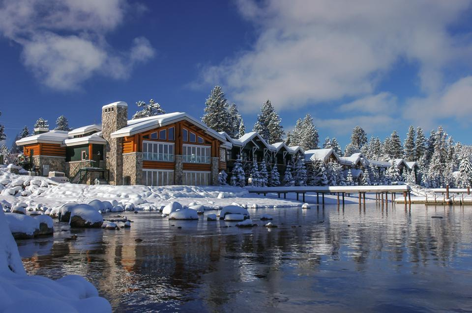 The exterior of Shore Lodge in the winter.