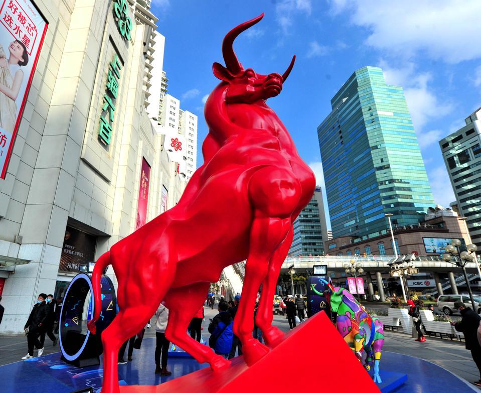 Red Bull Statue In Shanghai