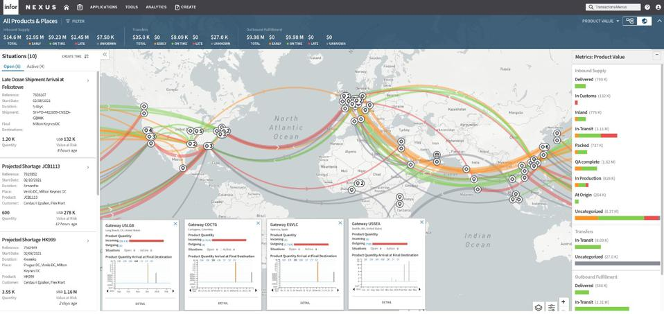 A map view of risks at seen in the Infor Nexus solution