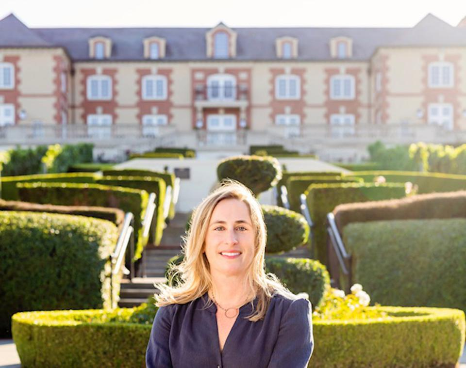Domaine Carneros CEO Remi Cohen in front of the iconic Napa Valley winery.