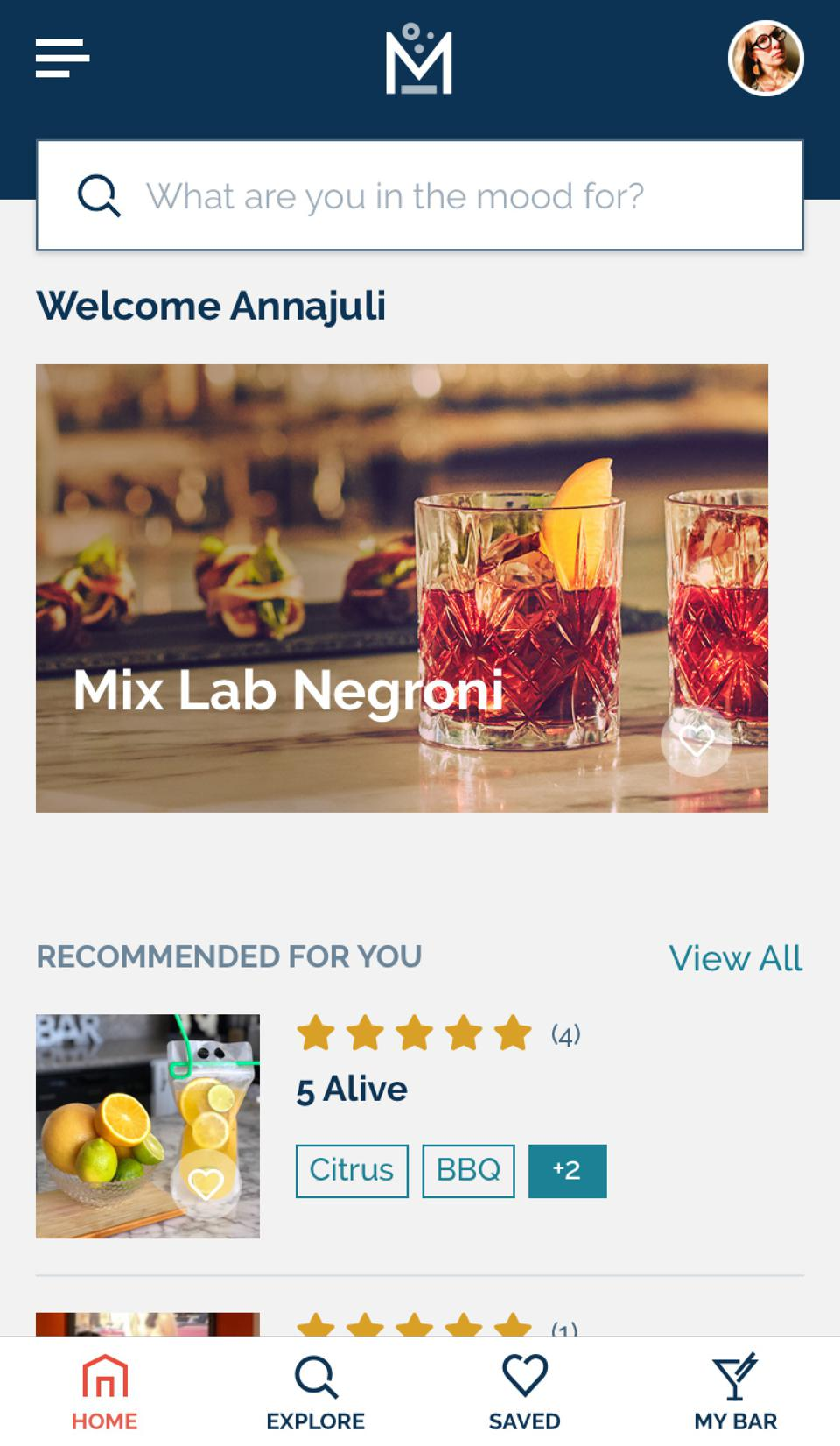The Mix Lab cocktail app allows users to search for new recipes and follow bartenders.