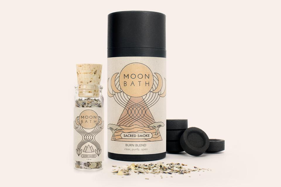 An open box of Moon Bath Sacred Smoke Blend.