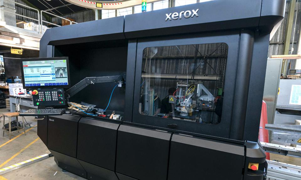 The Xerox metal 3D printer is set up for use in its first installation.