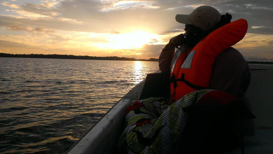 Christy Achtone Nkollo during a Manatee observation activity in Gabon