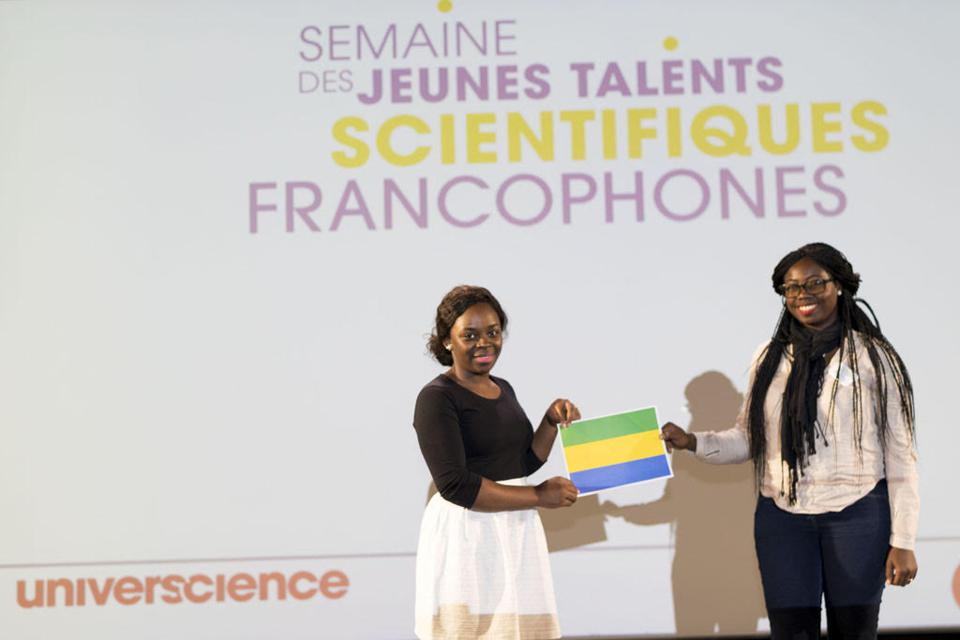 Christy Achtone NKOLLO at the Young French-Speaking Scientific Talents event in Paris.