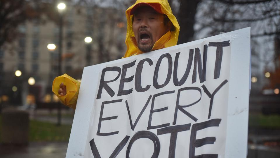 A protester holds a placard that says Recount Every Vote...