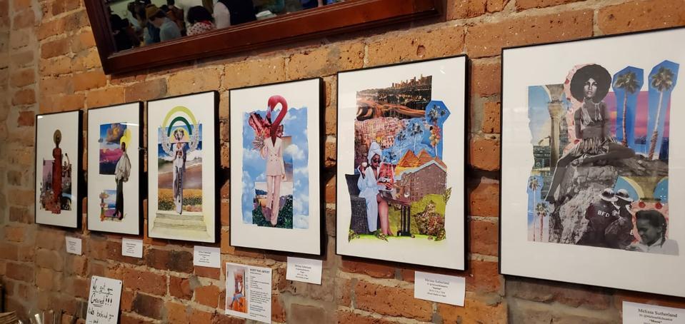 framed art via Sk.Artspace on brick wall