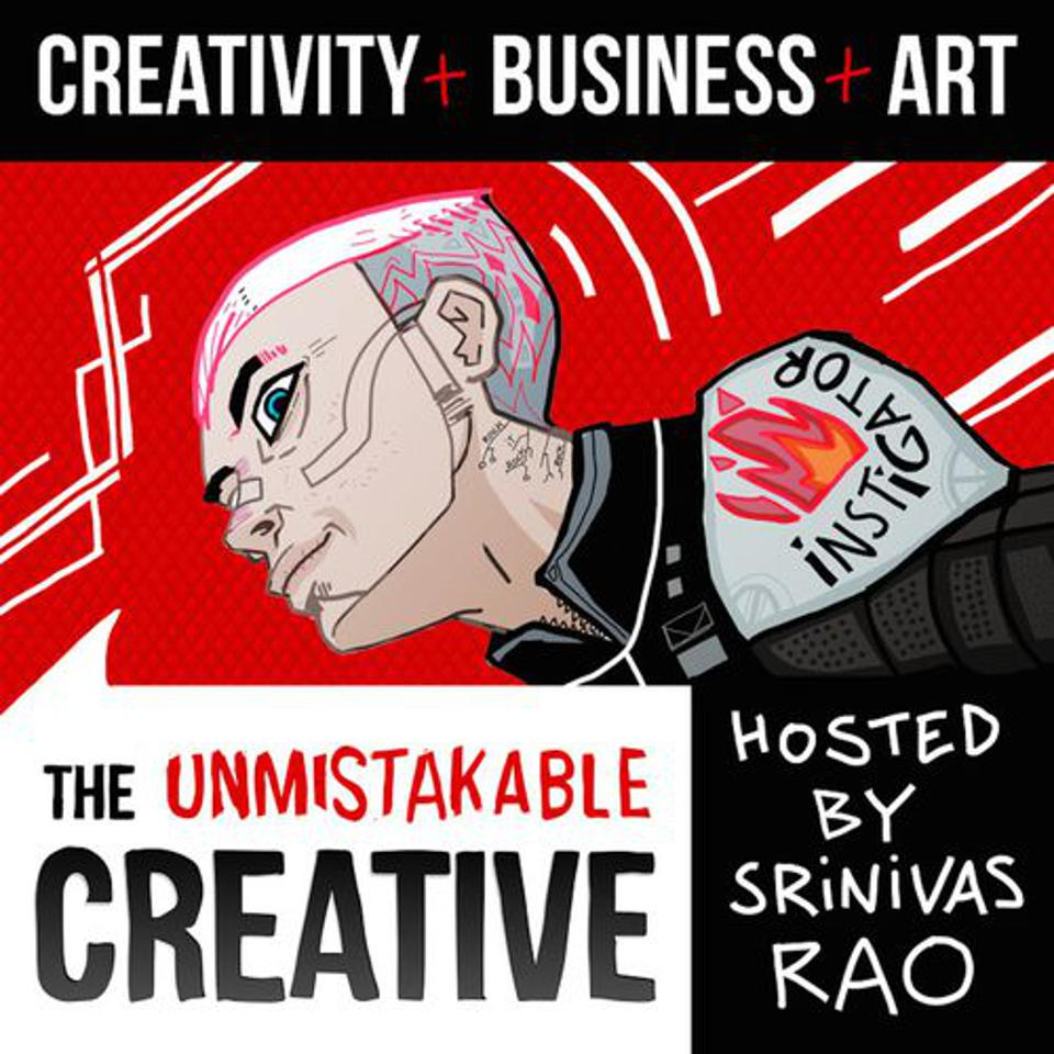 Cover of the Unmistakable Creative podcast, hosted by Srinivas Rao.