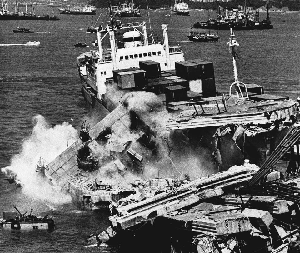 The crashed containership Sunshine Island breaks free from the pier after a 1981 collision