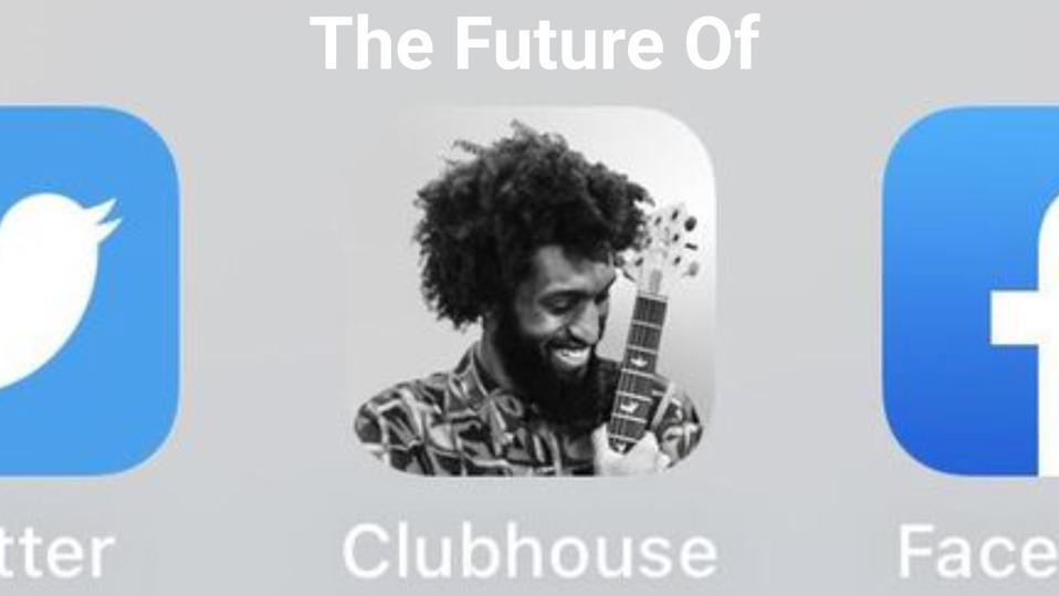 클럽 하우스, 페이스 북, 트위터 로고