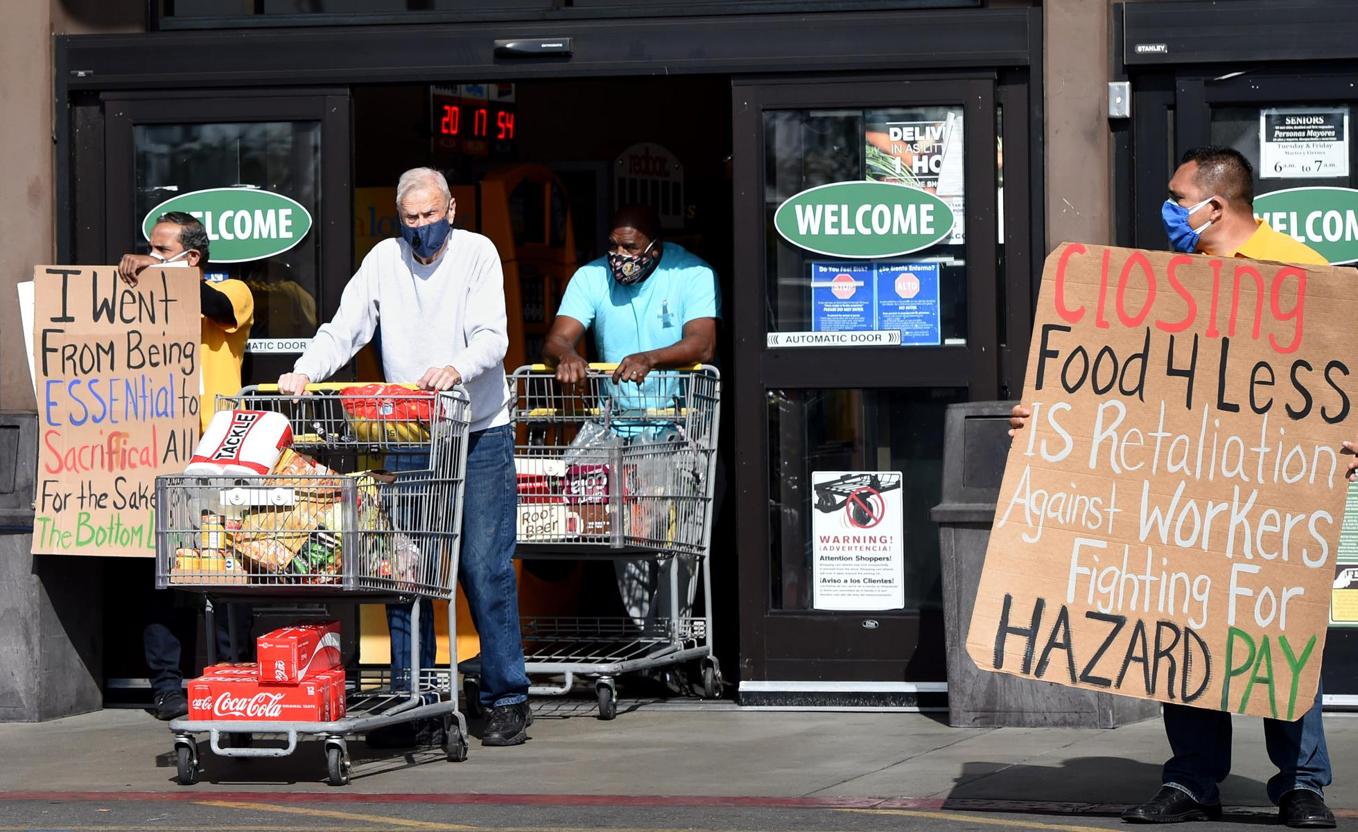 Food 4 Less workers, city leaders and local″nlabor advocates rally against Kroger closing stores and not giving hazard pay requested by the city of Long Beach