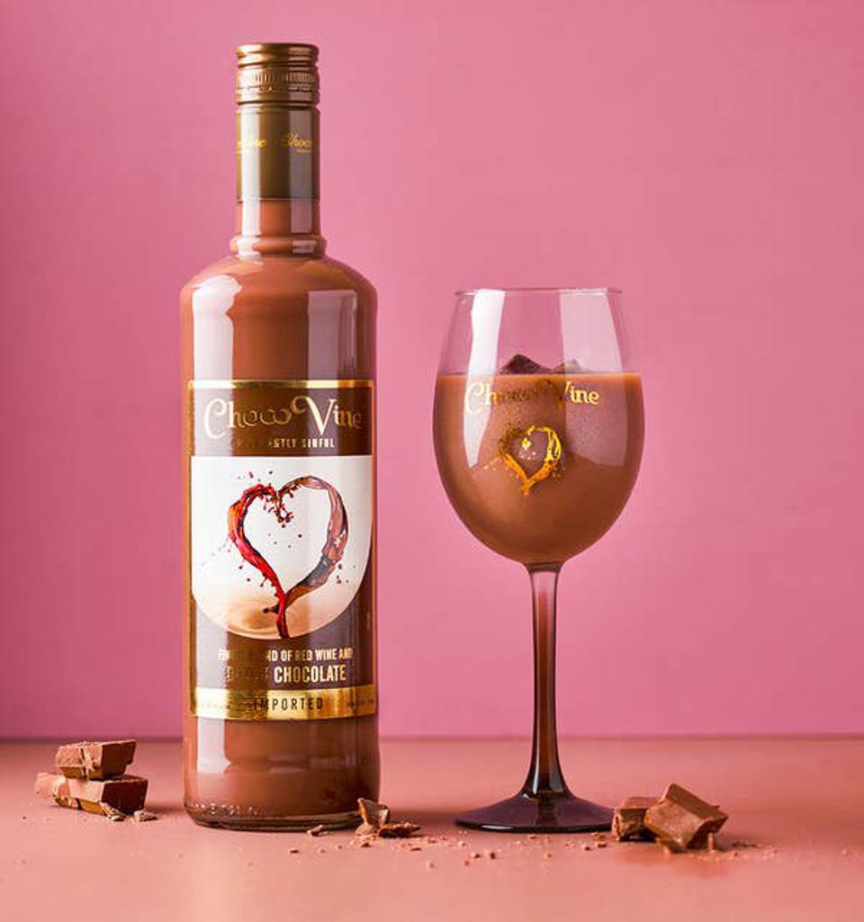 a wine and chocolate drink with belgian chocolate.