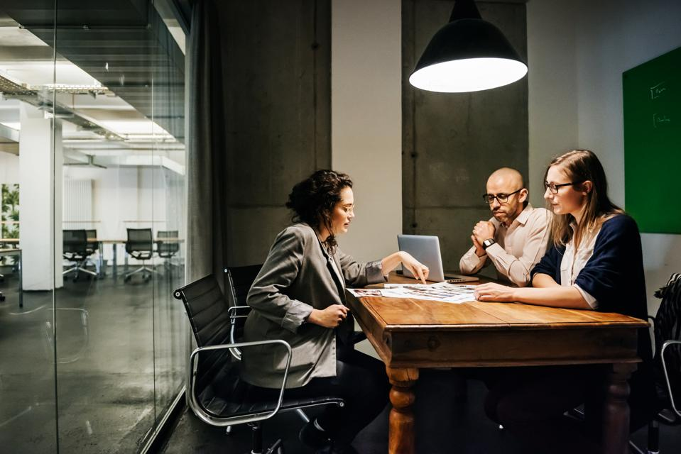 Business meeting in modern conference room