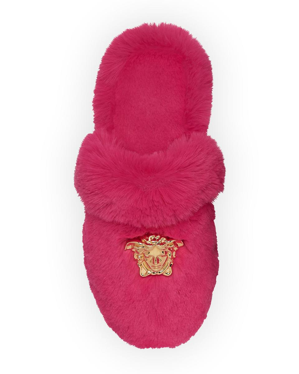 Hot pink faux fur slides with gold Versace logo
