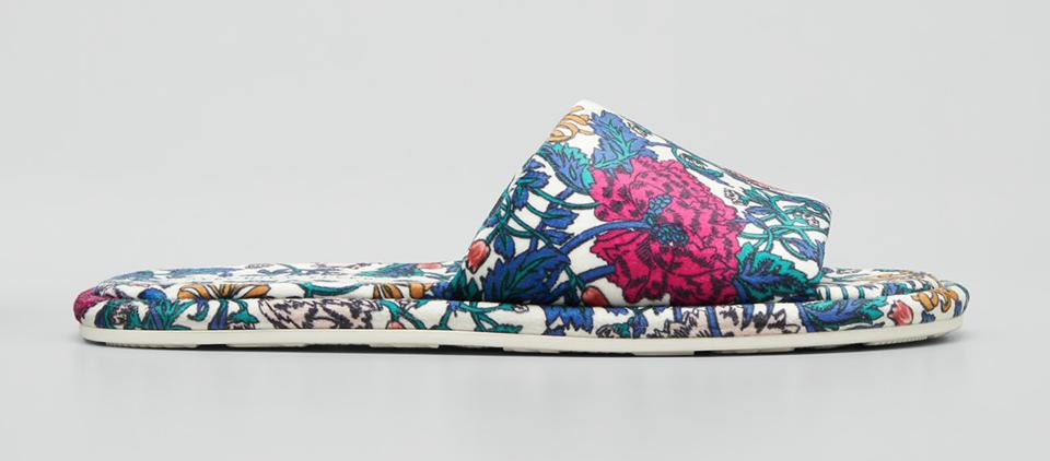 satin slipper slides in floral print, pink, blue and green