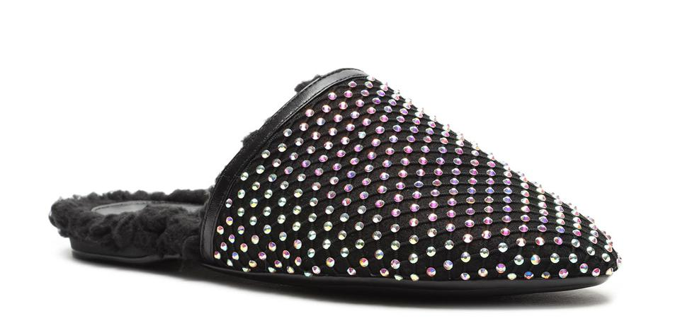 sherpa lined black flat mule slippers with crystal studs