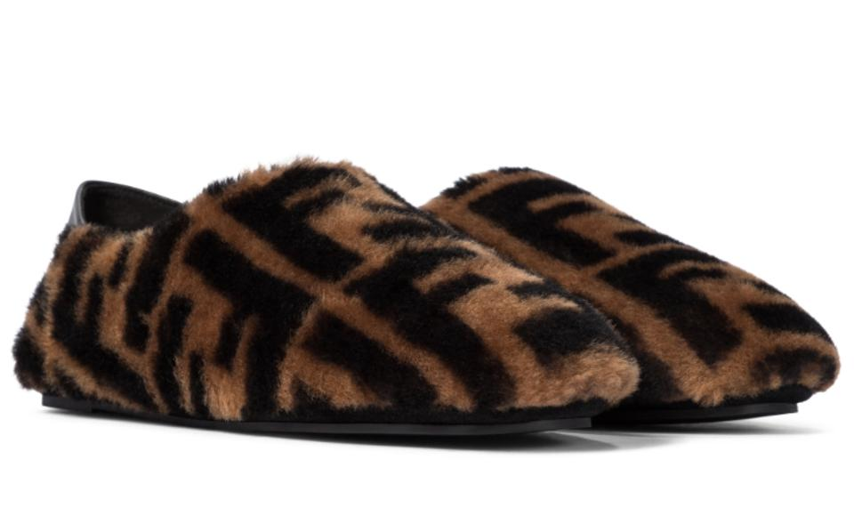 faux shearling black and brown Fendi logo slippers