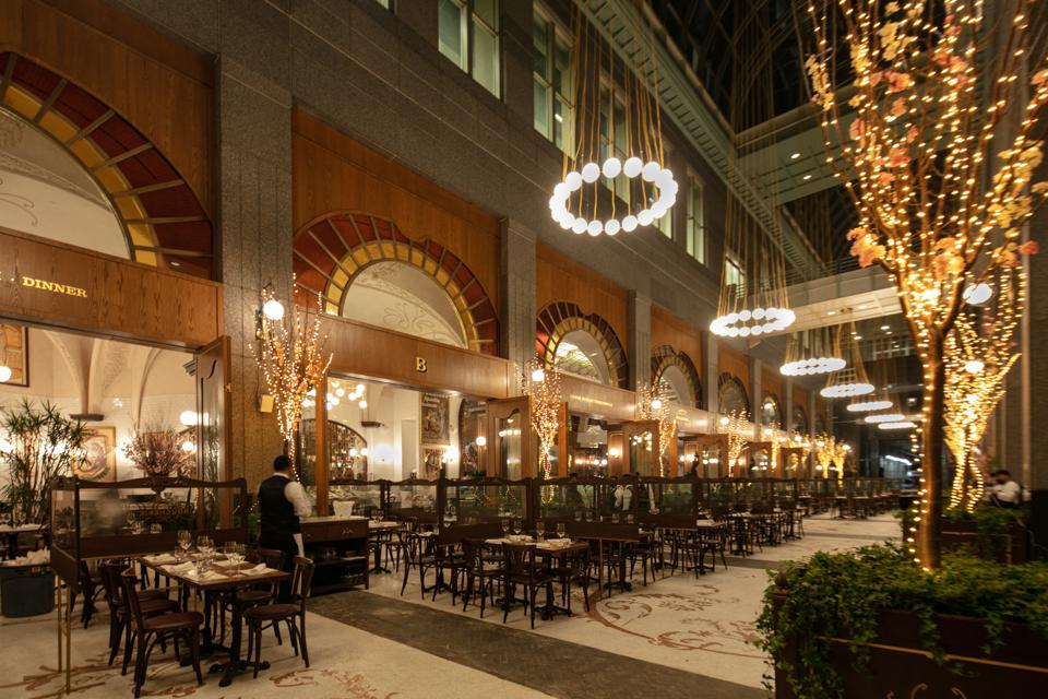 The Grand Boucherie's outdoor dining space has a heated floor.