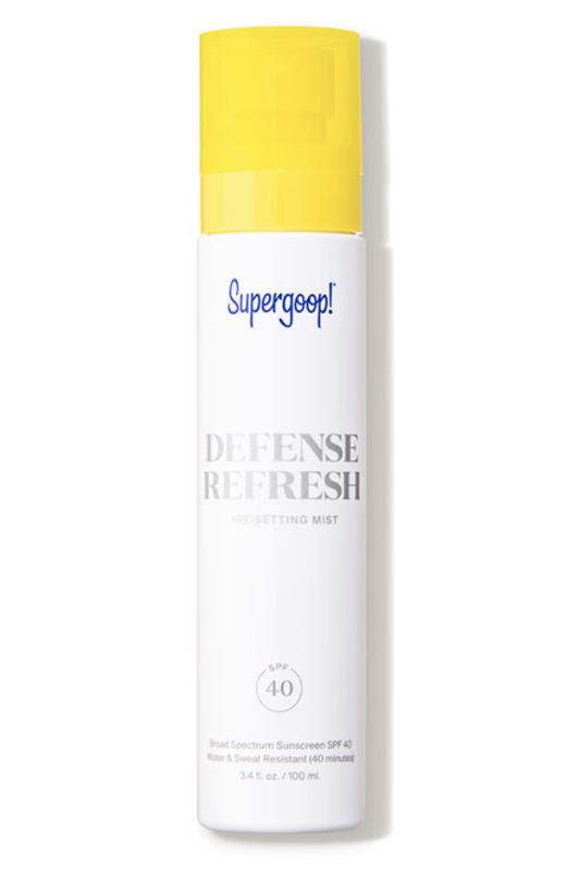 Set, Refresh And Protect Your Makeup With The 10 Best Setting Sprays- Supergoop! Defense Refresh (Re)setting Mist SPF 40