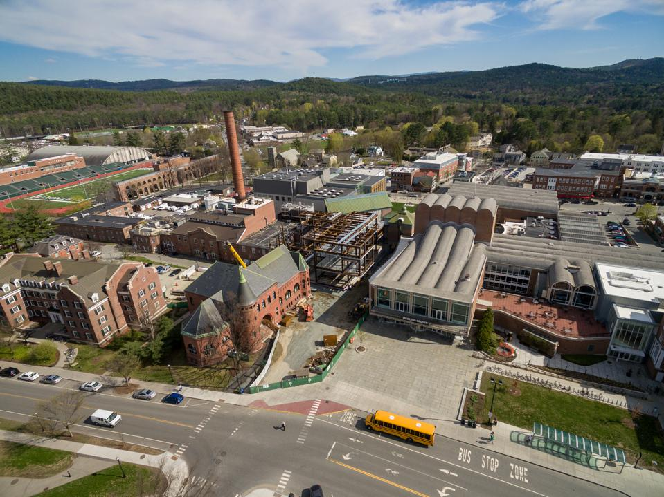 An aerial photograph of the Hopkins Center for the Arts at Dartmouth College.