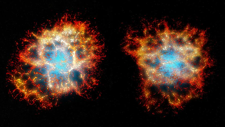 3D reconstruction of the Crab nebula remnant as seen from Earth (right), and from another point of view showing its heart-shaped morphology (left).