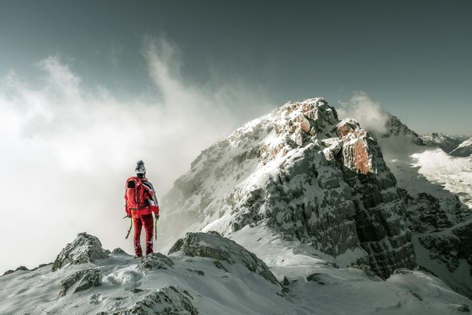 Sony Photo competition: a man at the top of a mountain.