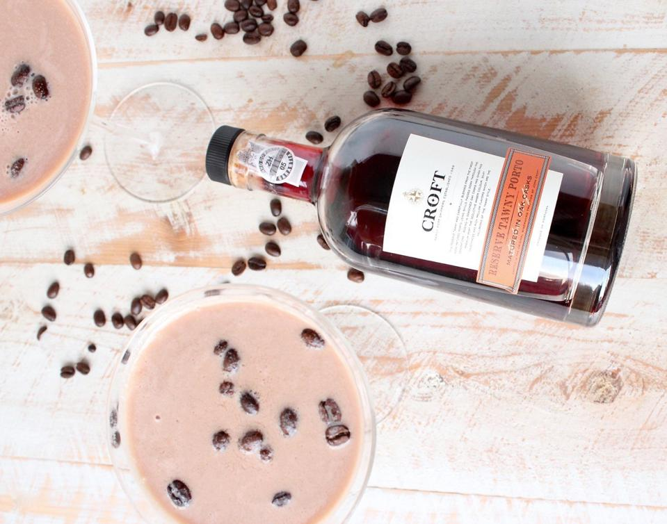 Bottle of Croft Port and coffee cocktails