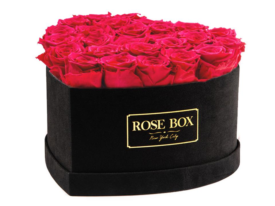 Heart shaped hat box filled with preserved roses