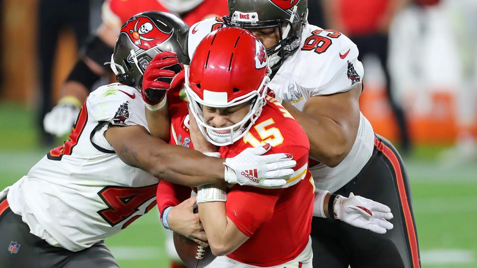 Buccaneers defense take down Patrick Mahomes of the Kansas City Chiefs.