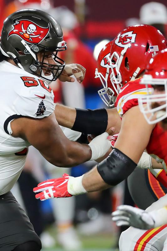 Vita Vea of the Buccaneers rushes the passer during the Super Bowl LV.