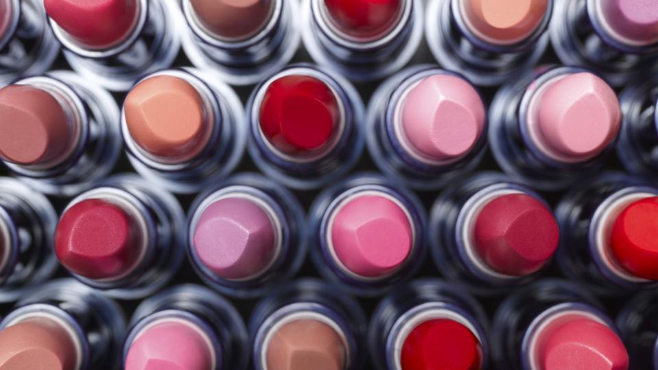 Overhead view of lipsticks