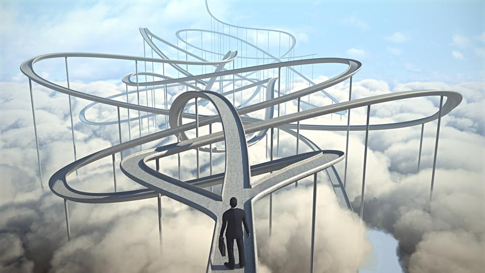 Businessman chooses the path strategy