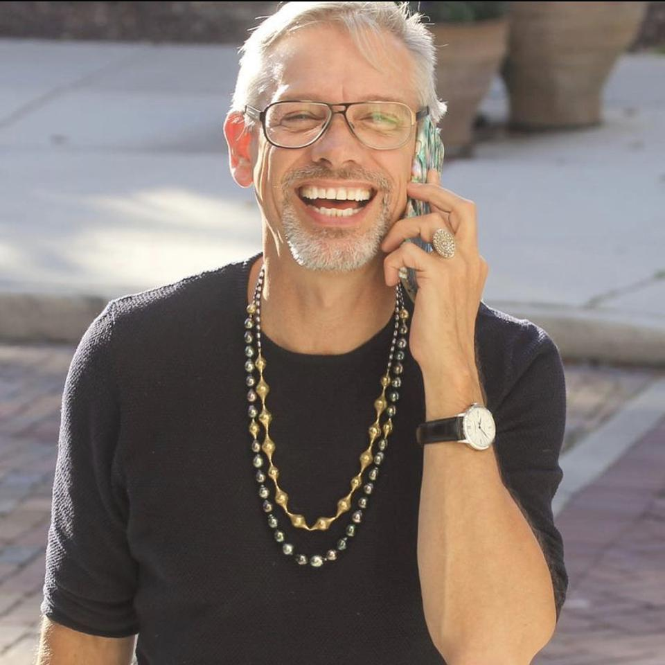 Ray Griffiths wears a Tahitian pearl and Crownwork® bead necklace with Crownwork® beads