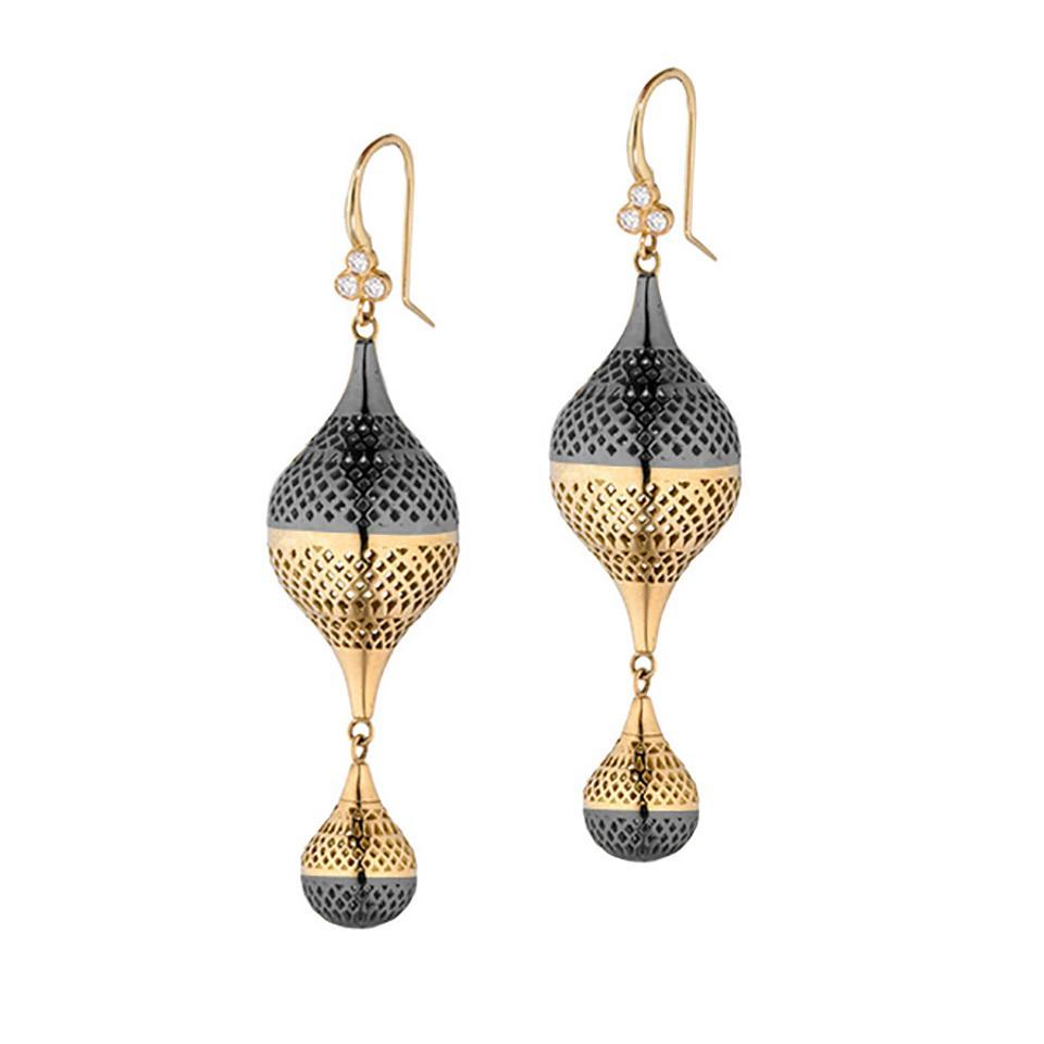 18k yellow gold and oxidized silver Crownwork® finial earrings on triple diamond hooks