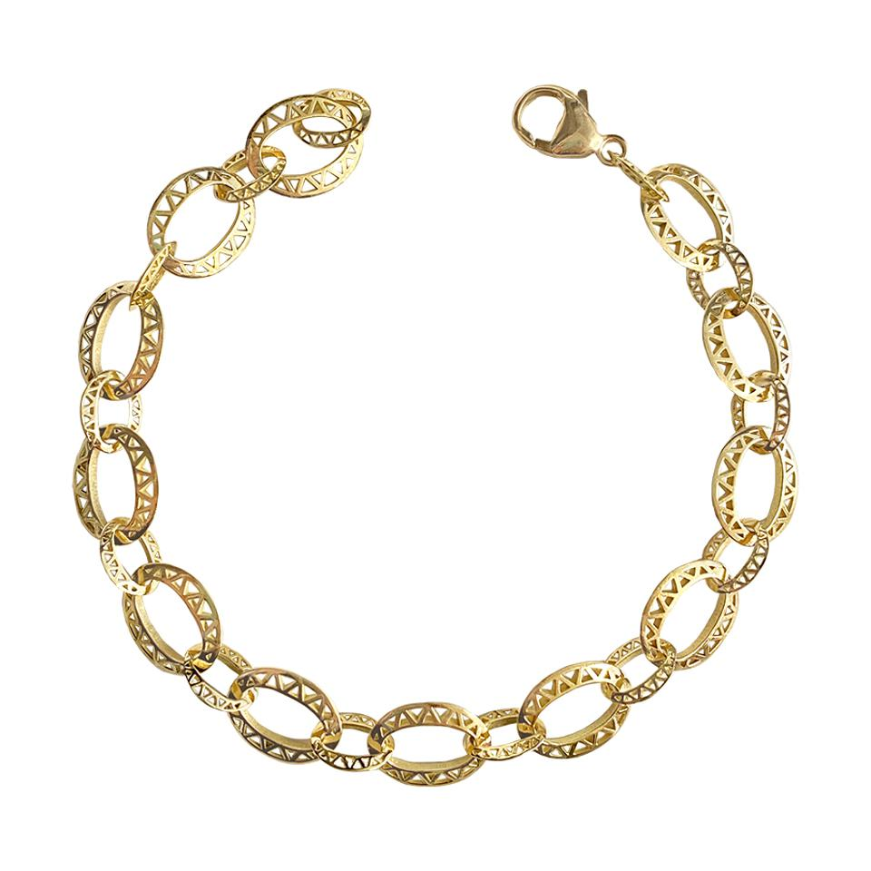 Luxurious 18-karat gold Medium Baby Crownwork® Link Bracelet by Ray Griffiths
