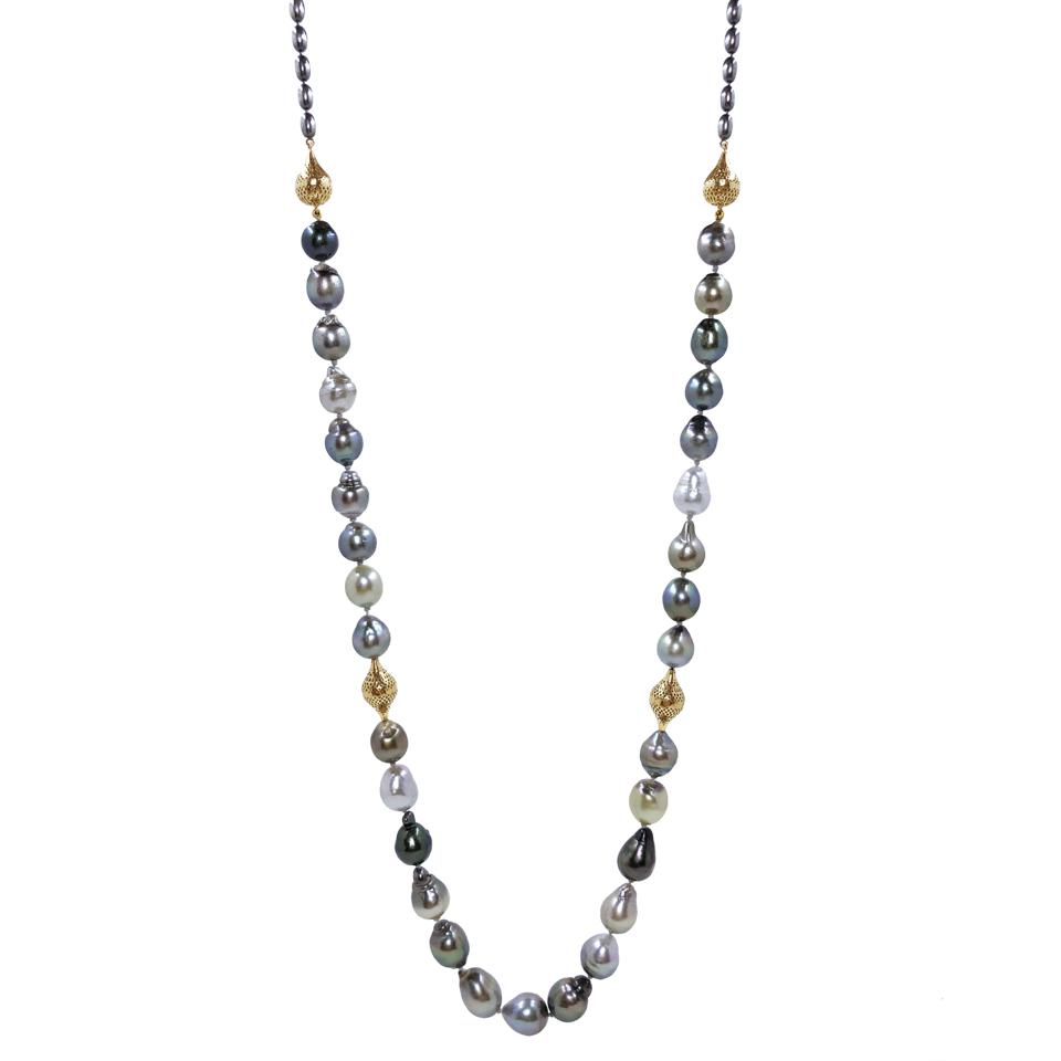 Tahitian pearl and 18-karat gold Crownwork® bead necklace by Ray Griffiths