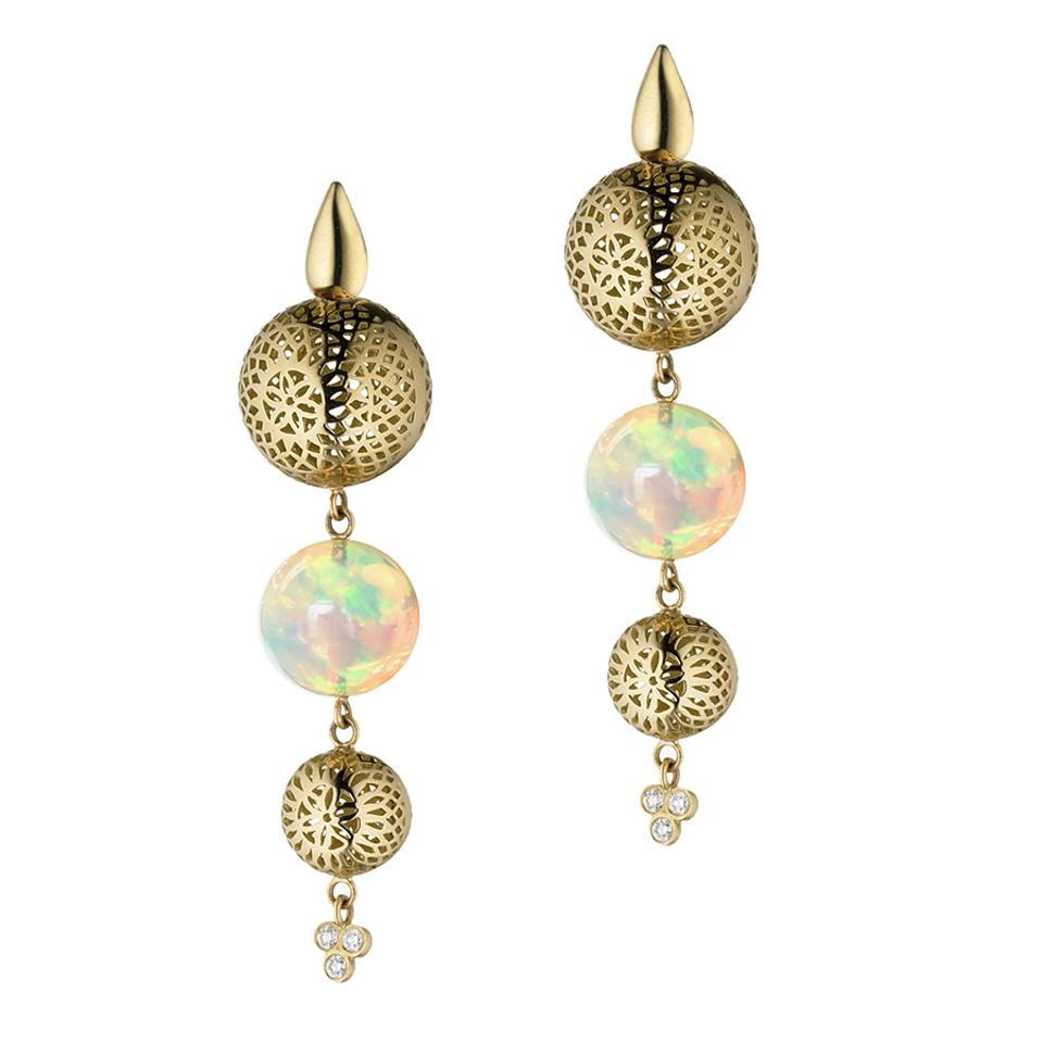 Iridescent opals and 18-karat gold Crownwork® pendant earrings by Ray Griffiths.