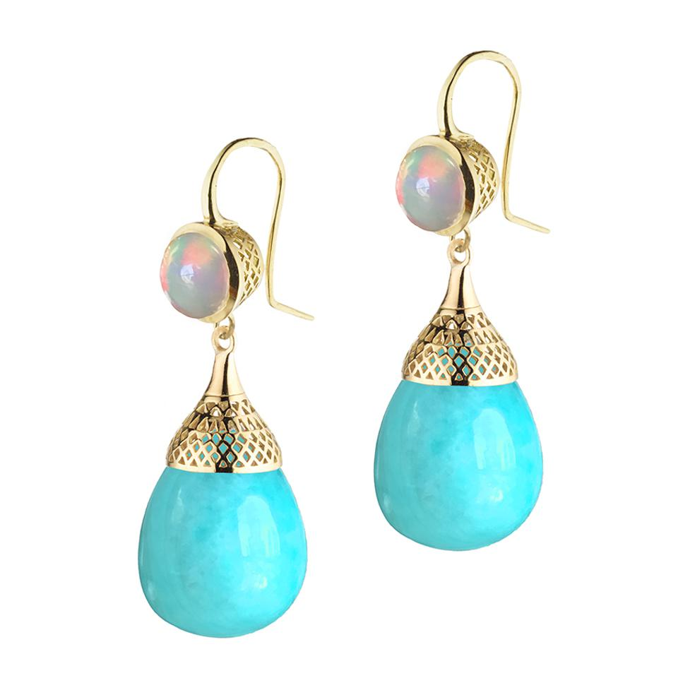 These sumptuous opal earrings by Ray Griffiths swing with heavenly blue Amazonite pendants