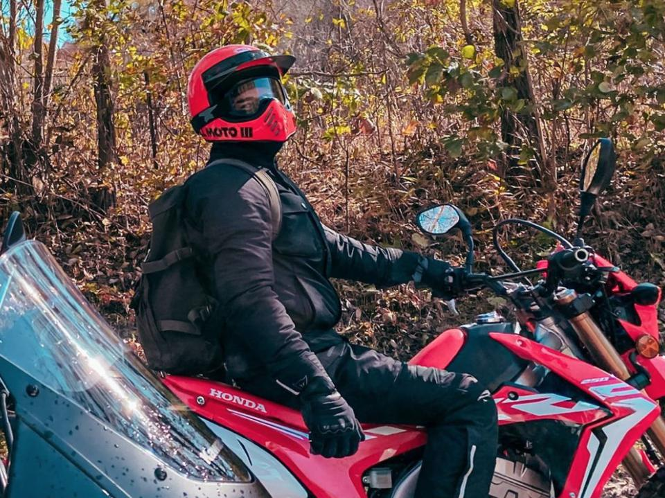 Chris Carrabba riding his dirt bike