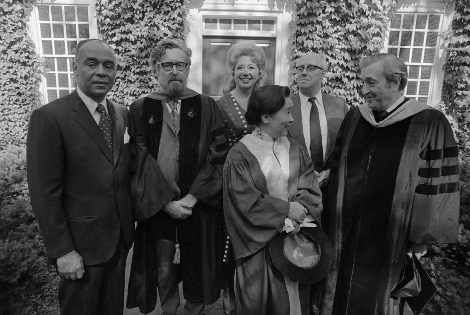 Chien-Shiung Wu, in front, along with five other recipients of honorary PhDs from Harvard.