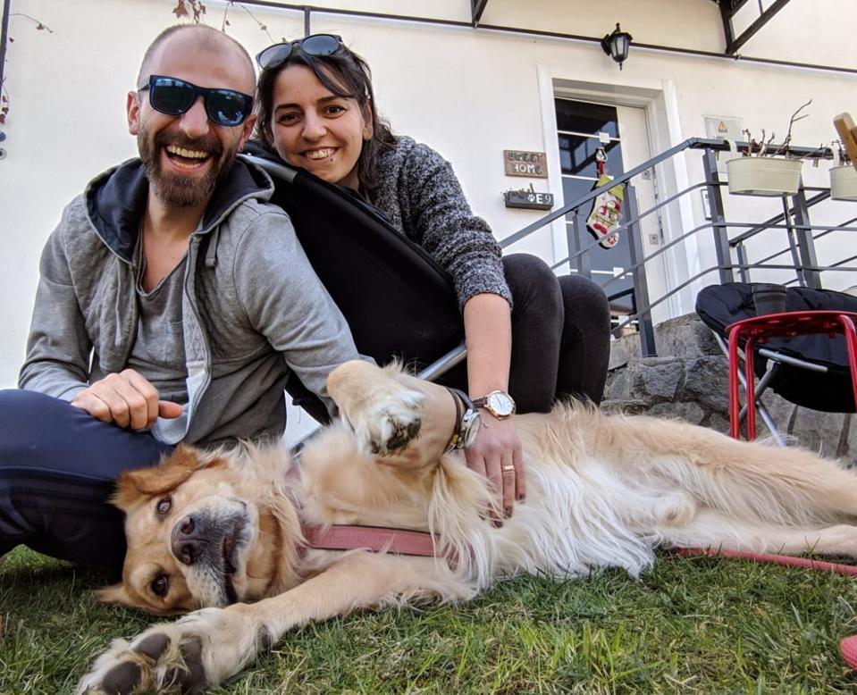 Ugur Gucarslan and Ilksen Gucarslan with their dog Alfonso