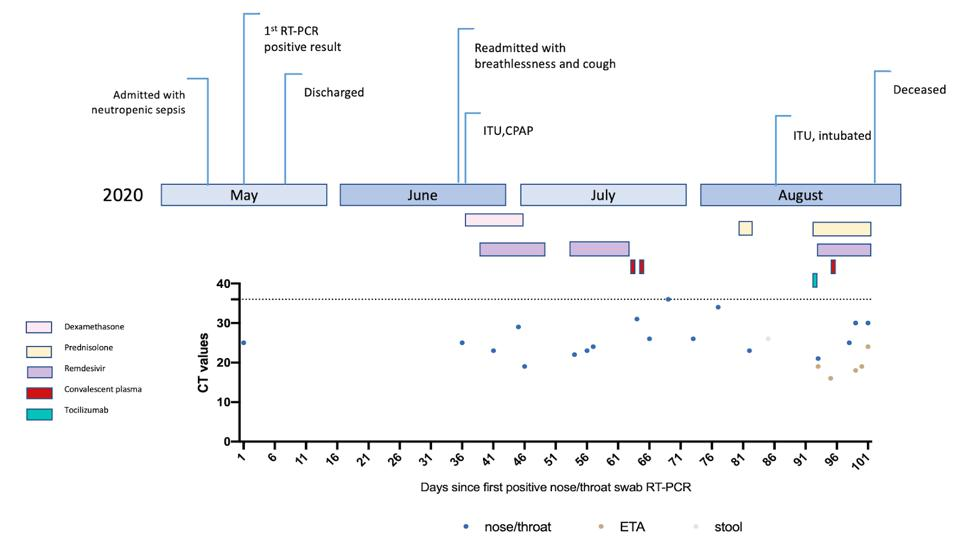 Figure 4. Clinical timeline of events with longitudinal respiratory sample CT (cycle time) values.